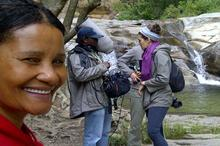 Sandra at the Meiringspoort Waterfall, Antoinette Engel (director) and Jabu Msomi (sound recordist)