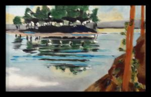 Patricia Marais    Epic island    Oil on Board    18cm x 24cm    R850