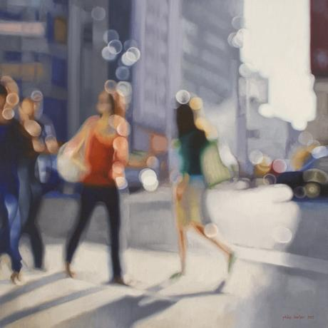 slipping by on 34th street, oil on linen, 90cm x 90cm