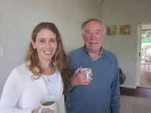 Sarah with her father professor Cyril Karabus 6 weeks after he returned home to South Africa