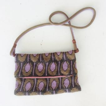 thumbnail for shoulder bag in tapestry, brown and mauve macaroons