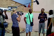 Camerawoman Karen Landsberg and Sound Recordist President Kapa sound film Themba and his siblings