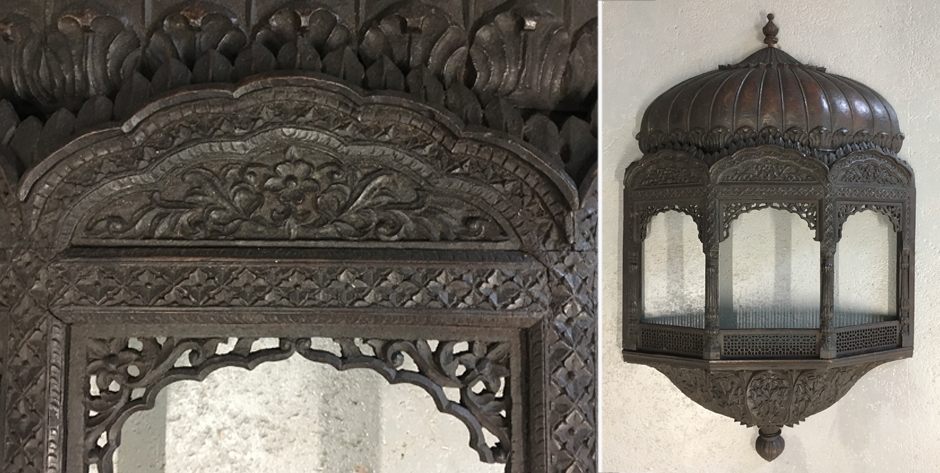 Indian large ornate hardwood wallhung model of a balcony • possibly Simla Hill Station • late 19 c.