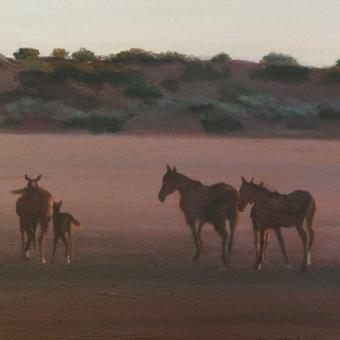 thumbnail for Wild horses in a Kalahari pan I. Oil on wood. 25.5 x 20.5cm