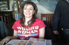 Lynn Witten with her Wonder Woman Leap of Faith t shirt