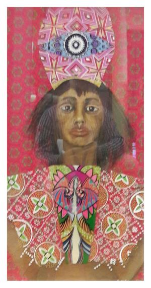 Yvette Polovin      ShweShwe Queen 3      acrylic on fabric and on perspex       770X440       R4000