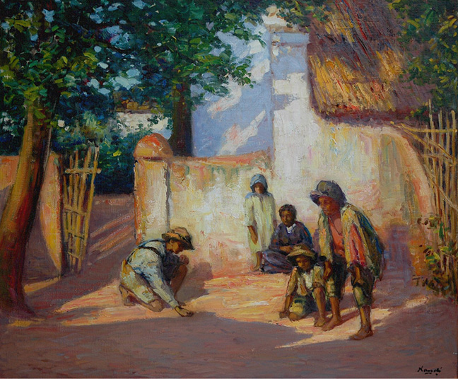 Children playing marbles - SOLD