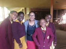 Anastasia with some of the Bophelo Impilo Private School pupils