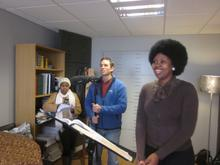 Nonhlanhla Yende with cameraman Tim Wege, with a representative from Cape Town Opera looking on