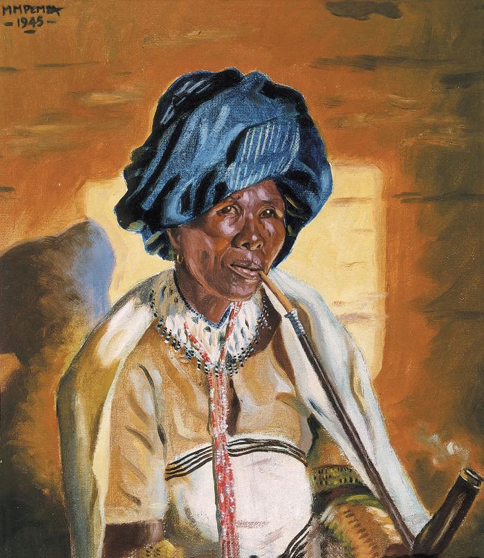 Xhosa woman smoking a pipe (1945)