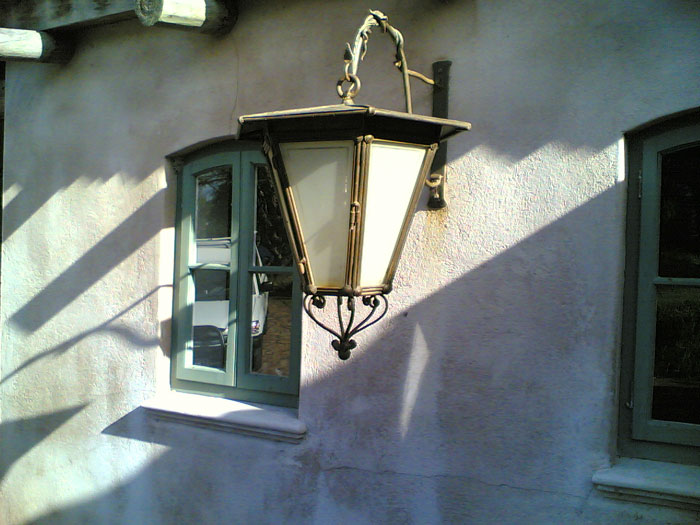 French country lantern with frosted glass panes (DETAIL)