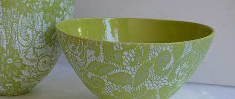 1.7  Green earthenware bowls with lace glaze.