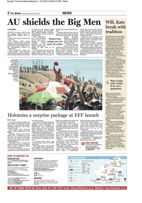 The Times (SA) - Economic Freedom Fighters (EFF) party launch in Marikana