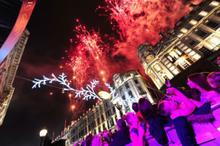 Fireworks accompany the switch on of the Christmas lights
