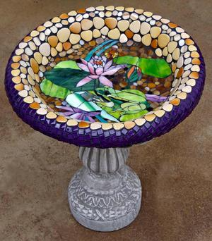 Glass & ceramic frog & water lily mosaic birdbath.   SOLD x 2 each for R1600