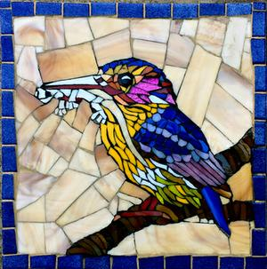 Small glass mosaic mural of kingfisher with lizard in his beak. SOLD for R700