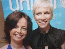 Melanie  with Annie Lennox during her UNICEF days