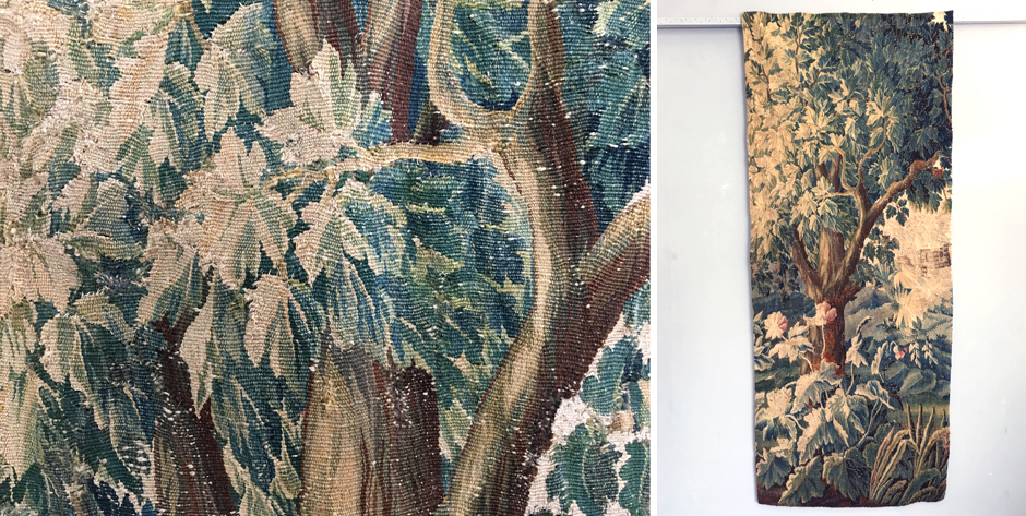French Aubusson vedure fragment of a tree • early 18th cent • mounted onto linen liner