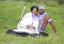 Nonhlanhla with husband Unathi on their wedding day