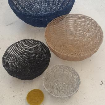 thumbnail for Bodhi stitch bowls: 600mm blue, 450mm champagne, 350mm black, 250mm pale grey, yellow mini