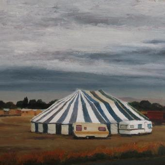 thumbnail for Minstrels/ Circus tent with threatening thunderstorm, Saron. Prelude 12. Oil on wood. 30 x40cm