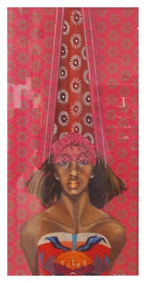 Yvette Polovin  ShweShwe Queen 1 acrylic on fabric and on perspex   770X440   R4000