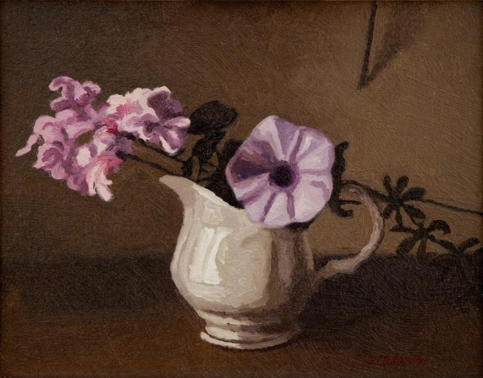 Geranium and moonflower in a jug - SOLD