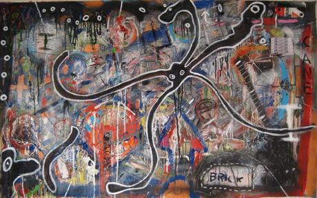 thumbnail for Streetcatcher, mixed media collage on 56 x 36