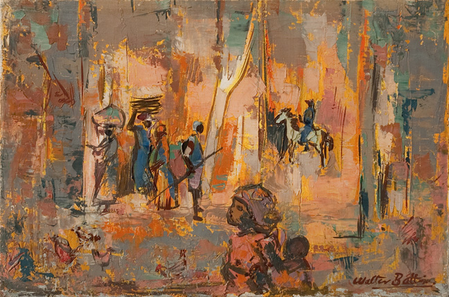 Village scene with rider - SOLD