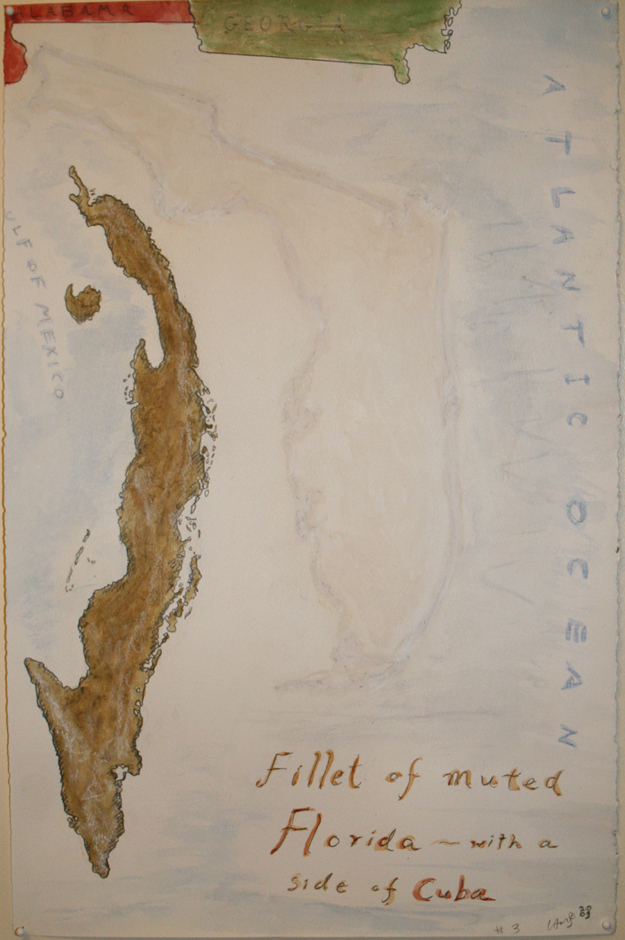 Fillet of Muted Florida #3 - with a side of Cuba 2009 pencil, watercolor and conte' on paper